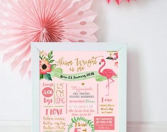 Milestone Board Poster, Pink Flamingo First Birthday Poster, Baby Girls First birthday party sign, 1st Birthday Milestone Sign Poster