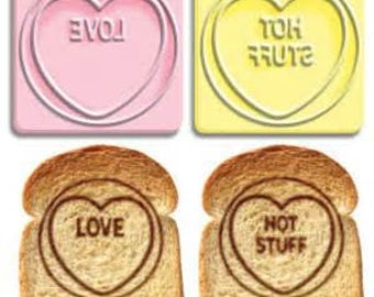 Love heart toast stamps