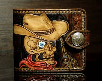 Hand-tooled  leather wallet wood-like design with a skull, carved wallet, tooled wallet, hand-tooled wallet, biker wallet, cowboy wallet
