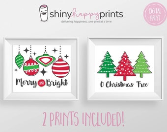 2 PACK Retro Christmas Digital Prints, Merry and Bright & O Christmas Tree Print, Christmas DIY Decor, Shiny Happy Prints