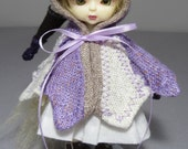 Pukifee capelet in purple, cream and brown