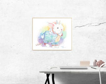 Unicorn Bunny Bunnycorn Fine art Print - Giclee Watercolor Print Rabbit bunny unicorn rainbows nursery room painting