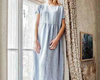 Kaftan Dress, Plus Size Maxi Dress, Linen Maxi Dress, Caftan Dress, Maternity Dress, Maternity Clothing, Long Dress, Short Sleeve Dress