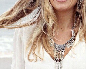 Bohemian Statement Necklace, Hippie Necklace, Gypsy Jewelry, Boho Necklace, Silver Coin Necklace, Ethnic Necklace, Bohemian Jewelry