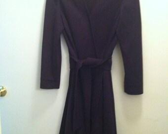 Dalton Pure Virgin Wool Wrap Dress, Eggplant Purple