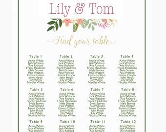 Wedding Seating Chart, Summer wedding Table chart, Floral wedding sign, find your seat, pink and greenery, printable download PDF