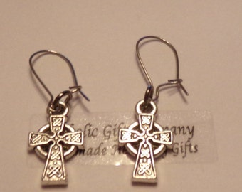 Mini Celtic Cross Charm Earrings - Antique silver tone Irish Celtic Cross Earrings