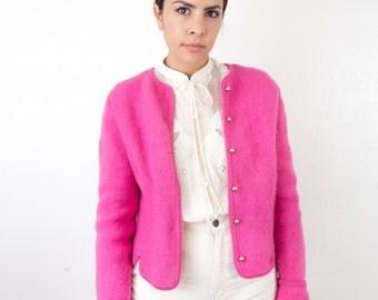 Pink Wool Sweater / Vintage Carol Reed Cardigan / Ski Sweater/ 1980s