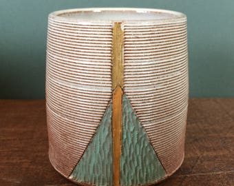 Cup with Hand Carved Abstract Design