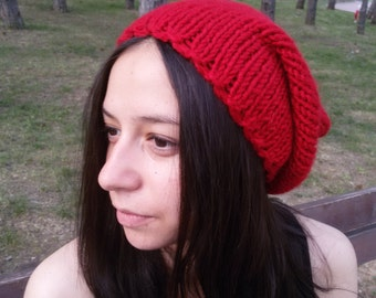 Bold Red Knit Hat Wool Hat Beanie Red Winter Hat Slouchy Beanie Fashion Clothing Teen Gift for Her