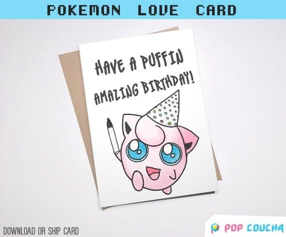 JIGGLYPUFF PUN BIRTHDAY Greeting Card Pun Pikachu bday Cute
