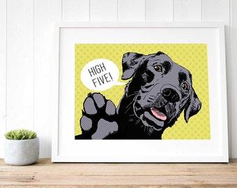 Black lab POP ART, modern pet art UK, Hipster gift ideas, Black Labrador wall art, large loft art black lab decor, Labrador retriever print