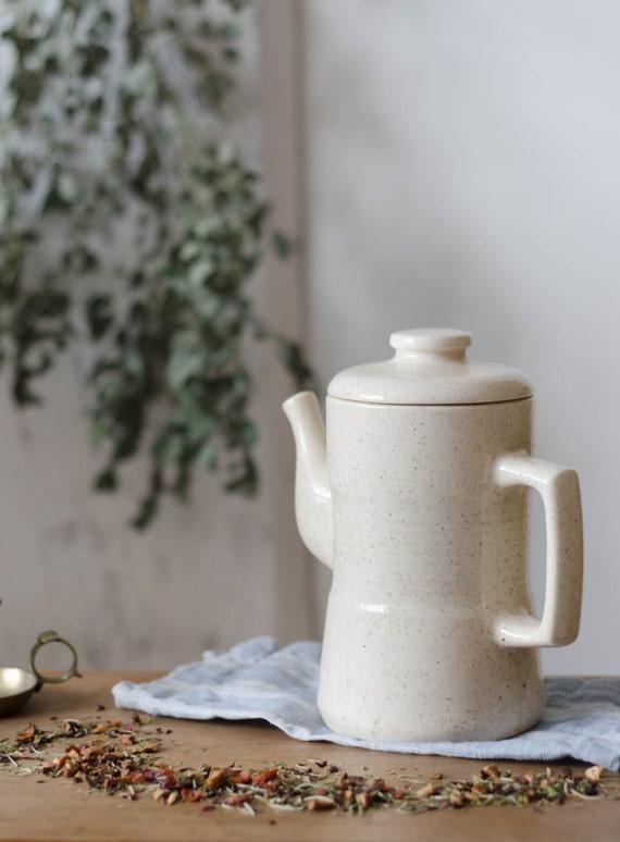 Vintage stoneware Teapot/Pitcher. White/Cream