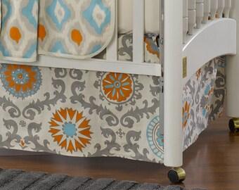"Mandarin Damask Crib Skirt 17"" Drop | Orange and Aqua Crib Dust Ruffle"
