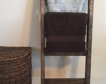 Distressed towel rack holder | Blanket ladder 4.5ft | Birthday gift | Rustic wooden farmhouse quilt ladder |  Decorative country decor