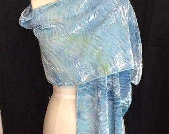 Silk and Rayon Devore Scarf - naturally dyed with Iris blossoms