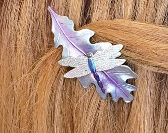 Hair Barrette, Hair Clip, Dragonfly hair barrette, Dragonfly hair Jewelry, Woodland hair clip, Garden flower hair clip
