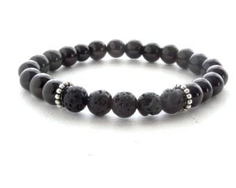 Mens Bracelet Lava Stone Beads, Mens Stone Bracelet, Black Gem Stone Bracelet, Mens Gift, Unique gift for her, gift for him