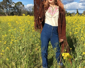 1970s WoodStock Leather Fringe Jacket// Deadstock Vintage// Coachella // Hippy Hippie// Western Jacket// Men's Medium//