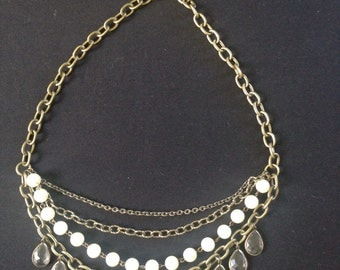 Glamourous faux pearl brass chain and glass beaded multistrand necklace