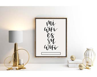 Wifi Password Printable Mi Wifi Es Su Wifi | Simple | Script | Black and White | Print Yourself | 2 Sizes Included | Guest Room