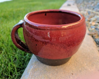 Red Stoneware Mug, Ceramic Mug, Farmhouse Pottery Mug, Coffee Cup, Handmade Mug