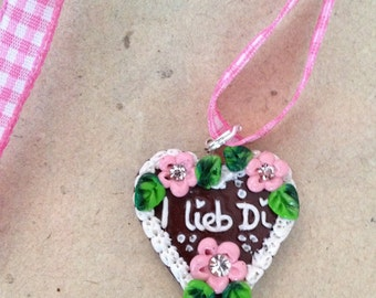 Heart Necklace pink, I love you, Octoberfest