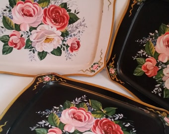 "8 Vintage Serving Trays 18 1/2"" by 14 1/2"""