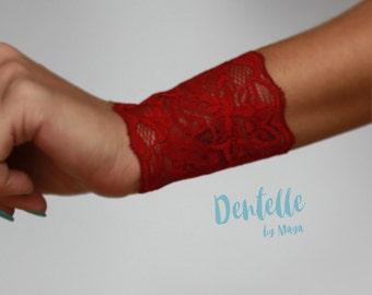 Red Lace Wrist Cuff bracelet | Tattoo Coverup lace Bracelet | Bohemian Wristband | Wide Arm Band | Boho Cuffs Tattoo Cover Gift
