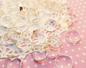 10pc  Silver Toned Ring Blanks 17mm Dainty Silver Finish Ring Base Jewelry Finding Craft DIY