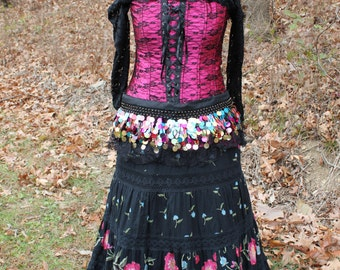 LOOK! Gypsy, Pirate, Renaissance Costume, Medieval, Goth Dress, Day of the Dead, Size Large