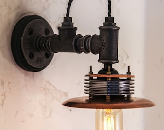 Hand Crafted Industrial Steampunk Wall Mounted Light