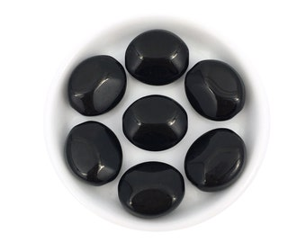 14x16 Big Czech Glass Oval Jet Black, Large Pressed Bead, Bulk, Wholesale, 6pc, 3803A