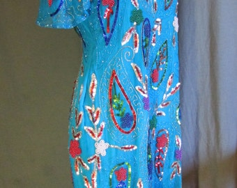 1980s Turquoise Sequin Dress with Paisley Pattern in Size Extra Large 12-14 Made by Sweelo Plus Size