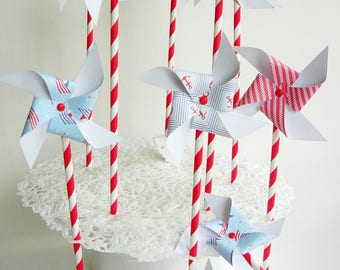 Paper pinwheels 10 pieces. Nautical party, children's Party, birthday, decoration, cake topper.