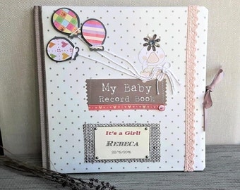 Personalized Baby Memory Book - Baby Journal book - Baby scrapbook album - Baby Record Book - New baby girl - shower gift - New Mummy gift
