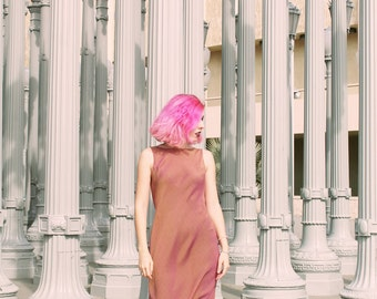 90s Metallic Iridescent Shimmery Maxi Dress  - 90s Dress 90s minimalist 90s prom dress 90s aesthetic clothing 90s festival dress