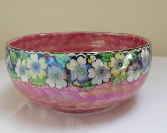 Vintage Pink and Floral Lusterware Bowl by Maling Pottery