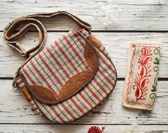 Hemp leather ladyes bag Style bag adjustable strap shoulder purse