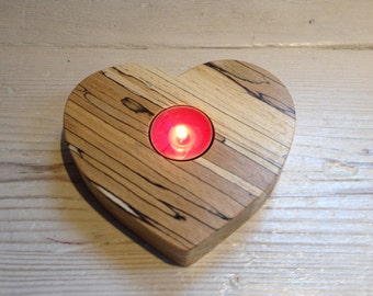 Heart tealight holder, heart candle holder, valentine gift, Scottish, spalted beech. wood, gift for her, wooden, unique, handmade, natural