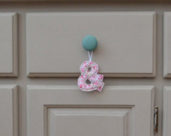 Hanging fabric letters / initials / ampersand / personalised wedding gift / home decor / engagement / cotton anniversary / door hanger