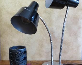 Vintage Double Gooseneck Desk Lamp with Chrome Base and Black Shades