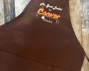 Mr Good Lookin Is Cookin Personalized Apron - Husband Chef - Available in more colors of Aprons - BBQ Men's Apron
