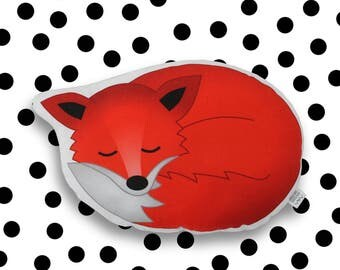 pillow - sleepy fox - plush stuffed animal kids room nursery