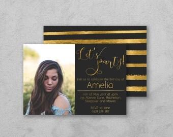 Photo Birthday Invite, Teenage Girls Birthday Invitation, Black and Gold, Party Invites, Party Invitations, Girls Birthday Invites