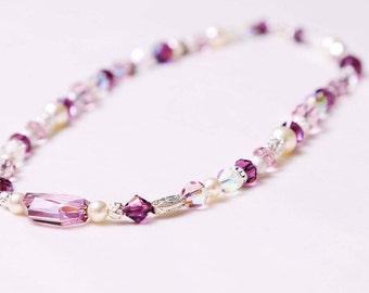 The Jane Handmade Amethyst Swarovski Crystal & Pearl Necklace
