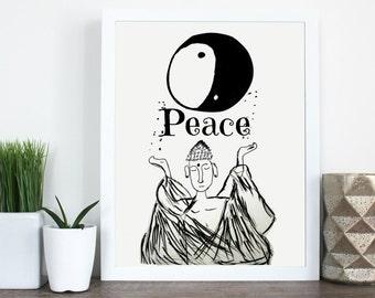 Buddha Peace Art print.  8.5 x11 print.  Home decor.  Wall art print.  Print illustration.  Buddha print.  Yin & yang print.