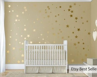120 Gold Metallic Stars Nursery Wall Decals/Wall Stickers, Childrens Bedroom/Baby Decoration, Vinyl, Wedding, Wallpaper Art Decor Gloss/Matt