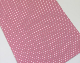 PINK POLKA DOTS, faux leather sheet,8x11 faux leather,pink w/ white faux leather, pink vegan leather, faux leather fabric,vinyl material