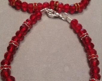 Red Rhinestone & Glass Beaded Bracelet